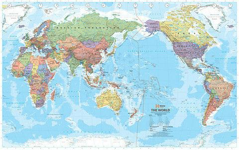 World Map Political Pacific Centred, 1010mm x 635mm