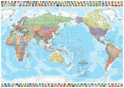 World Map with Flags - Pacific Centred, 1010mm x 720mm