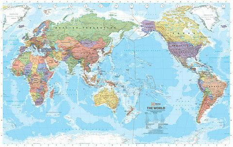 World Map, Political Pacific Centred, 1550mm x 990mm, Super