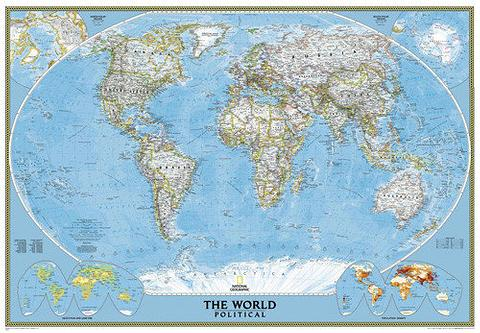 World Map, Europe Centred, 1105mm x 775mm, Small