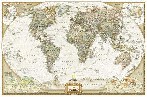 World Map, Europe Centred, 1850mm x 1225mm, Antique - Large