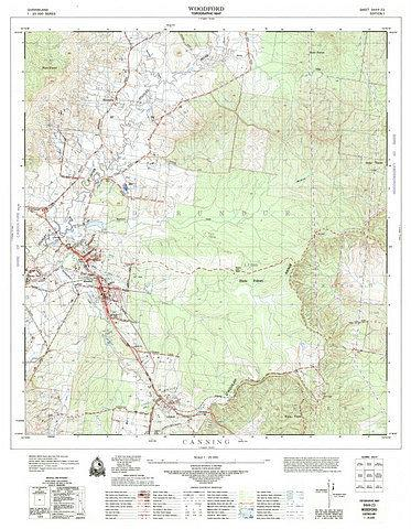 Woodford 25k topo map