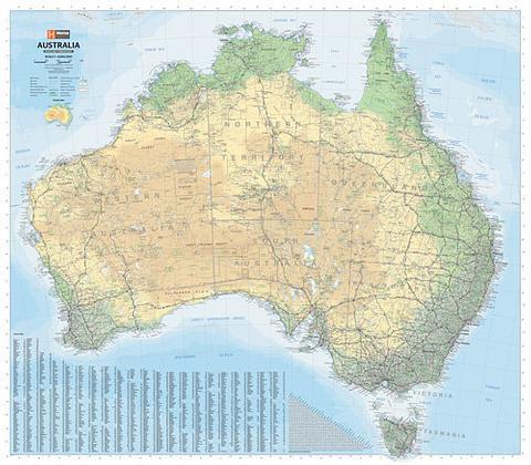 Australia Terrain & Road Wall Map 1000mm x 875mm