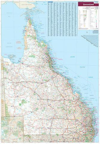 Queensland State Wall Map - Hema 1000 x 700mm
