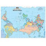 Upside Down World Map - Folded - Hema