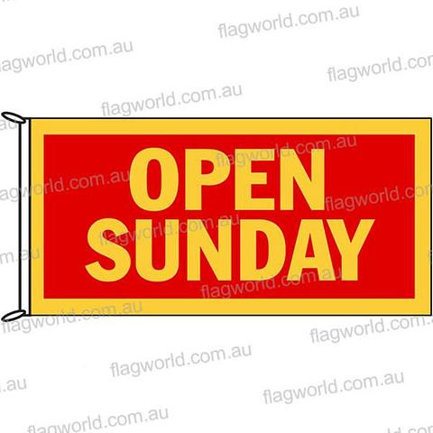 Open Sunday - Flag - 1800 x 900 mm