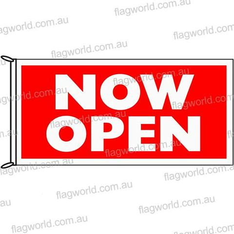Now Open Flag - 1800 x 900 mm