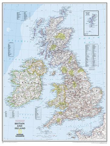 Britain and Ireland Wall Map - 600mm x 770mm