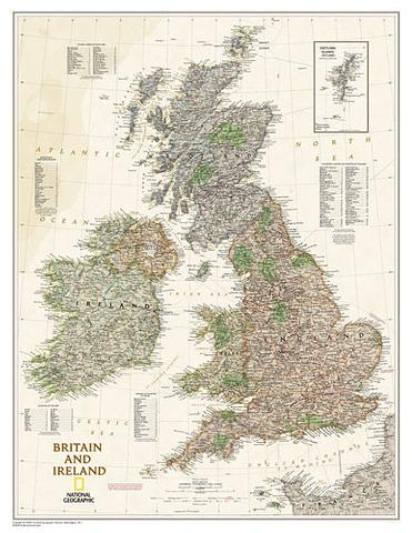 Britain and Ireland Executive Wall Map 600mm x 770mm