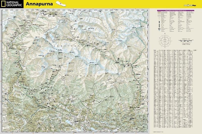 Annapurna Nepal Adventure Travel Map By National Geographic - National geographic travel map