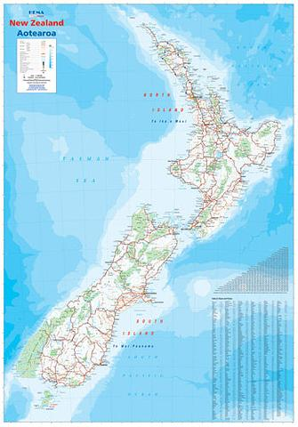New Zealand - Wall Map