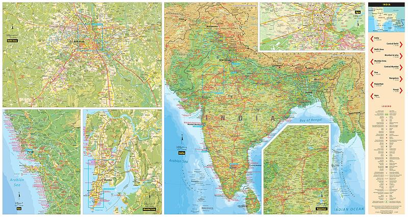 India - Country Map by Periplus Travel Maps — WORLD WIDE MAPS