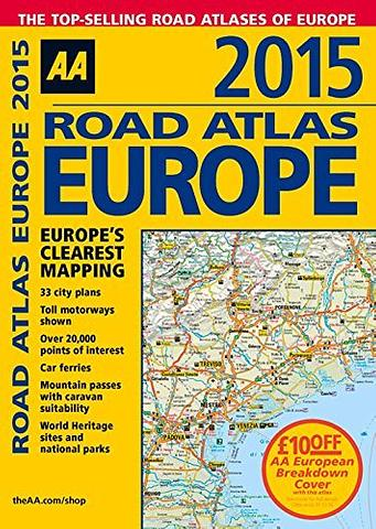 Europe Road Atlas by AA - A4 Size